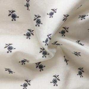 tissu coton motif provençal fleuri vert et bleu