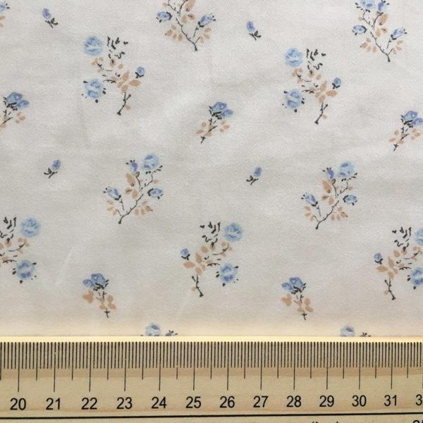 roses bleu beige tissu coton pour couture imprimé fleuri