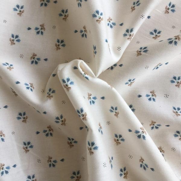 tissu coton bleuets bleu et marron